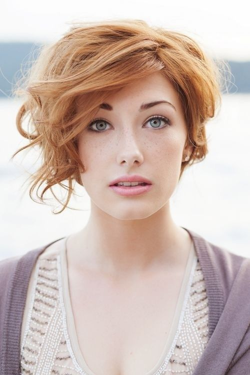 Short Hairstyle With Side Bangs for Long Faces