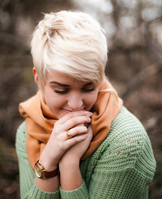 Short Pixie Hairstyle for Ash Blond Hair