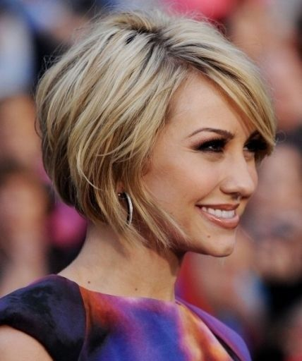 Side Parted Short Layered Bob Hairstyle