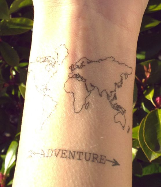 Simple Map Tattoo on Shoulder