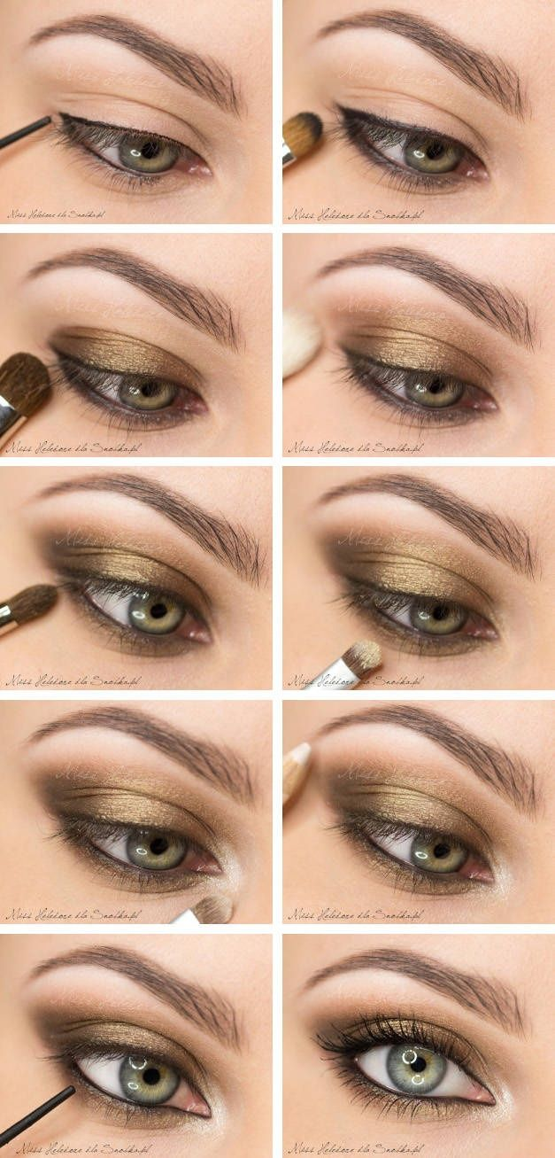 10 gold smoky eye tutorials for fall pretty designs smoky eyes with bronze shadow via baditri Gallery