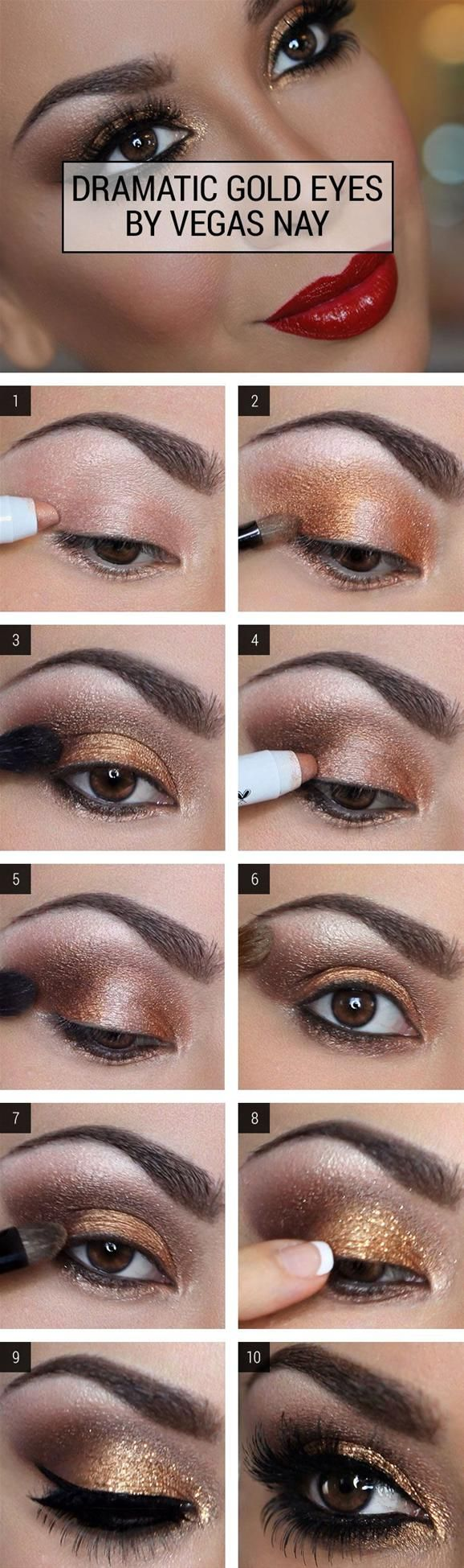 Smoky Gold Eye Makeup Tutorial