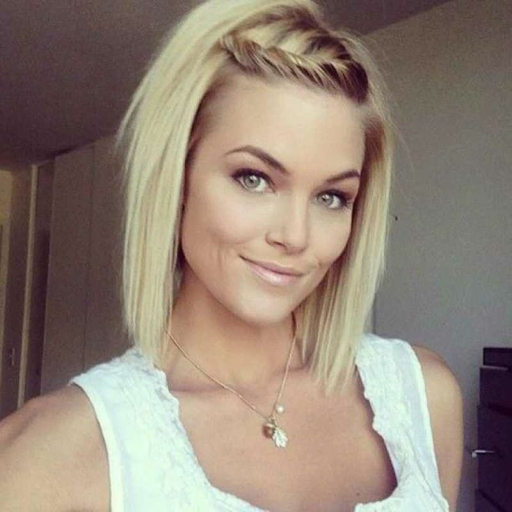 Straight Blond Hairstyle With Twisted Bangs for Medium Hair
