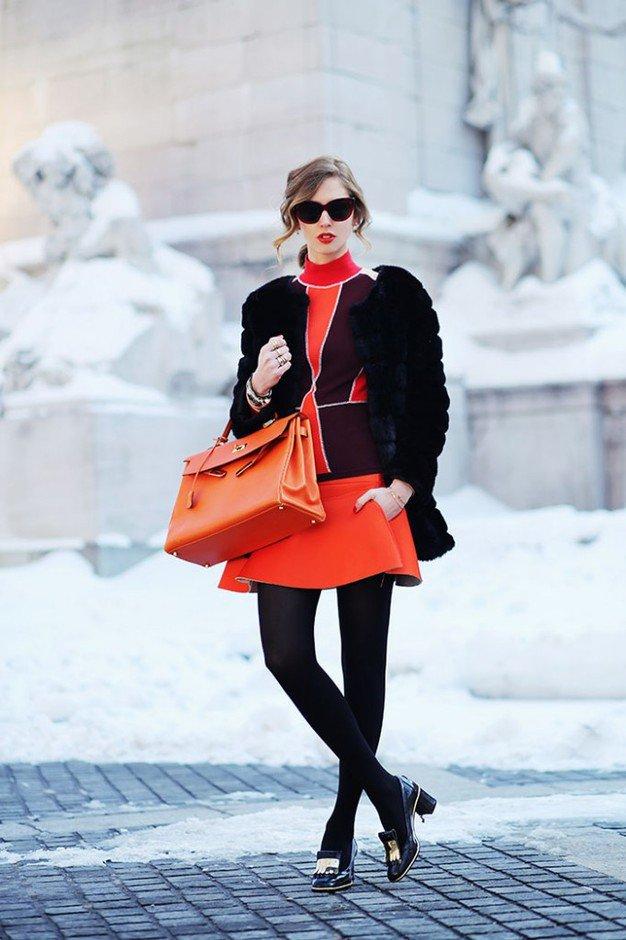 Stylish Black Fur Coat Outfit Idea