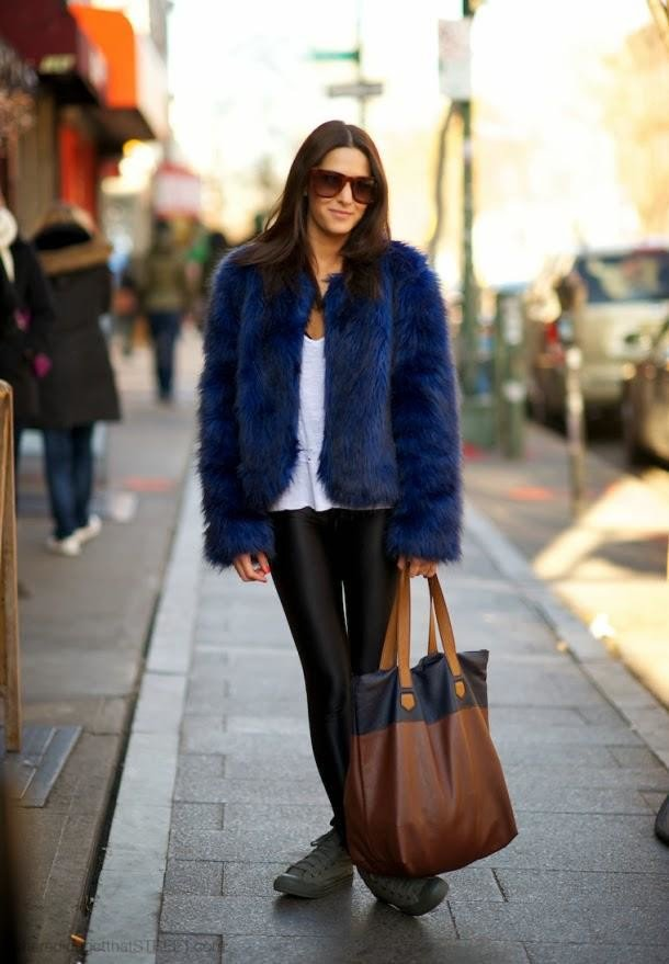 Stylish Blue Fur Coat Outfit for Fall