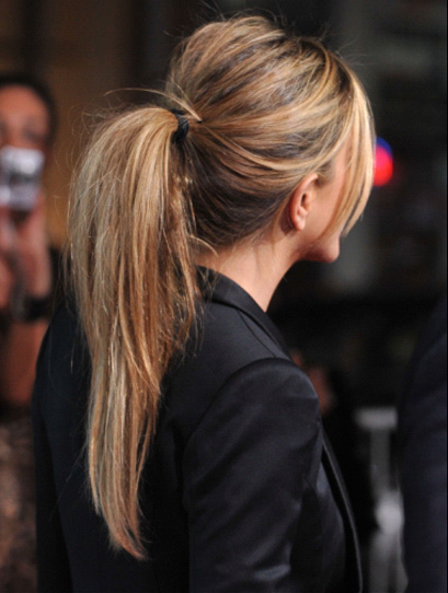 Stylish Messy High Ponytail with Bangs