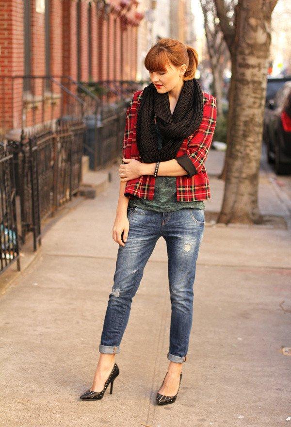 Tartan Blazer with Jeans
