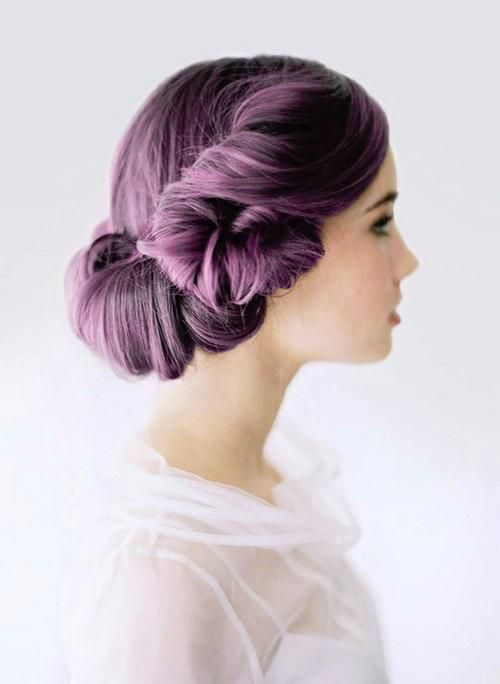 Twisted Bun Purple Hairstyle