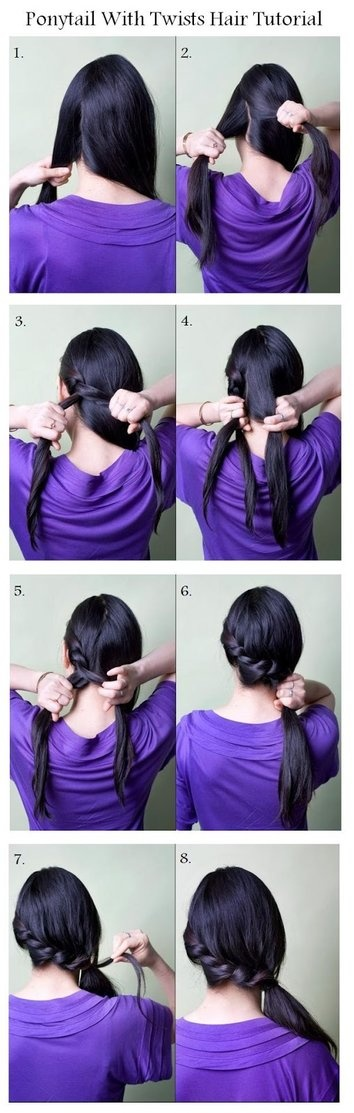 Twisted Ponytail Hairstyle for Thick Hair
