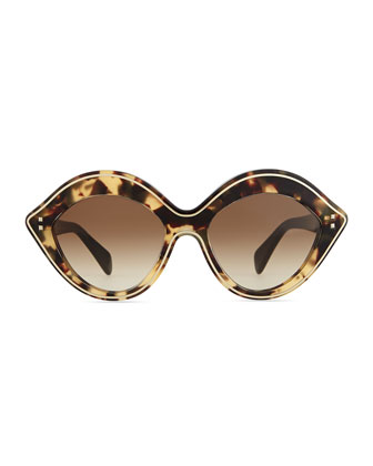 Valentino Chunky Metal-Edged Cat-Eye Sunglasses