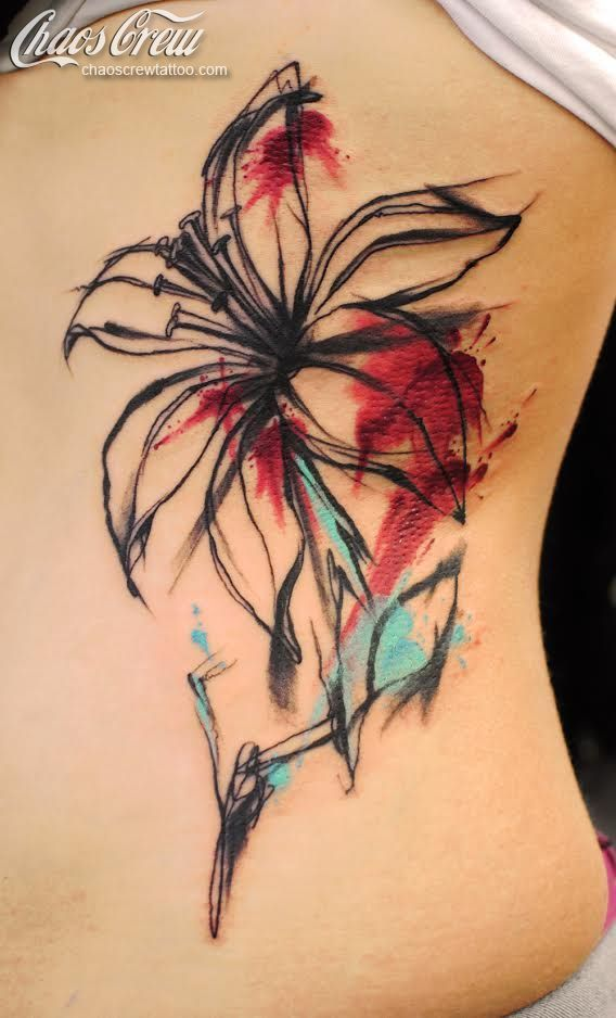 Watercolor Lily Tattoo