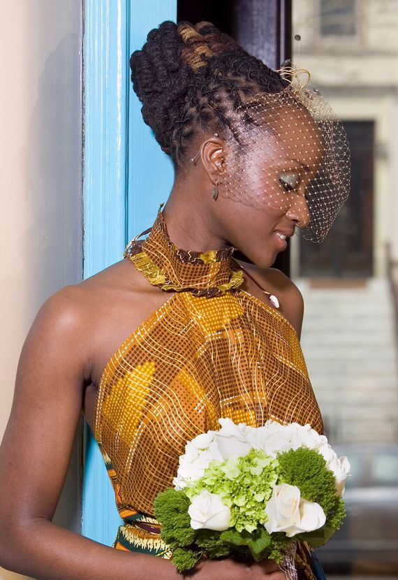 Wedding Hairstyle With Fishnet for Black Women