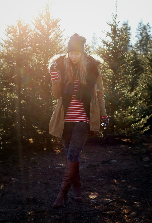 Winter Outfit Idea with A Knitted Hat