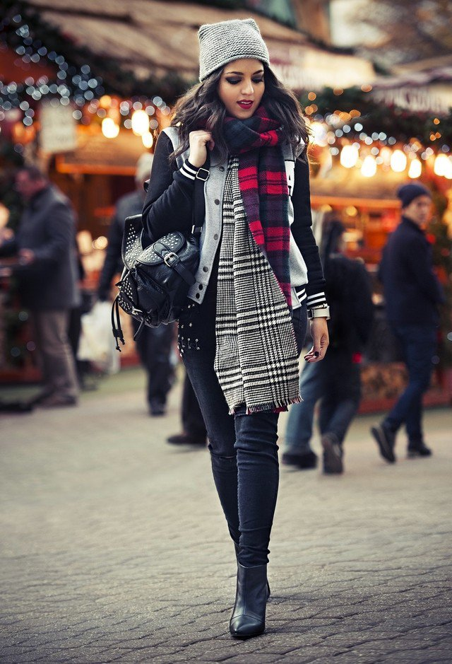 Winter Outfit Idea with Plaid Scarf