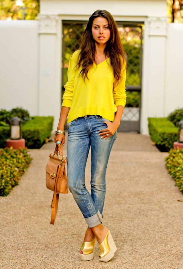 Yellow Jumper with Jeans