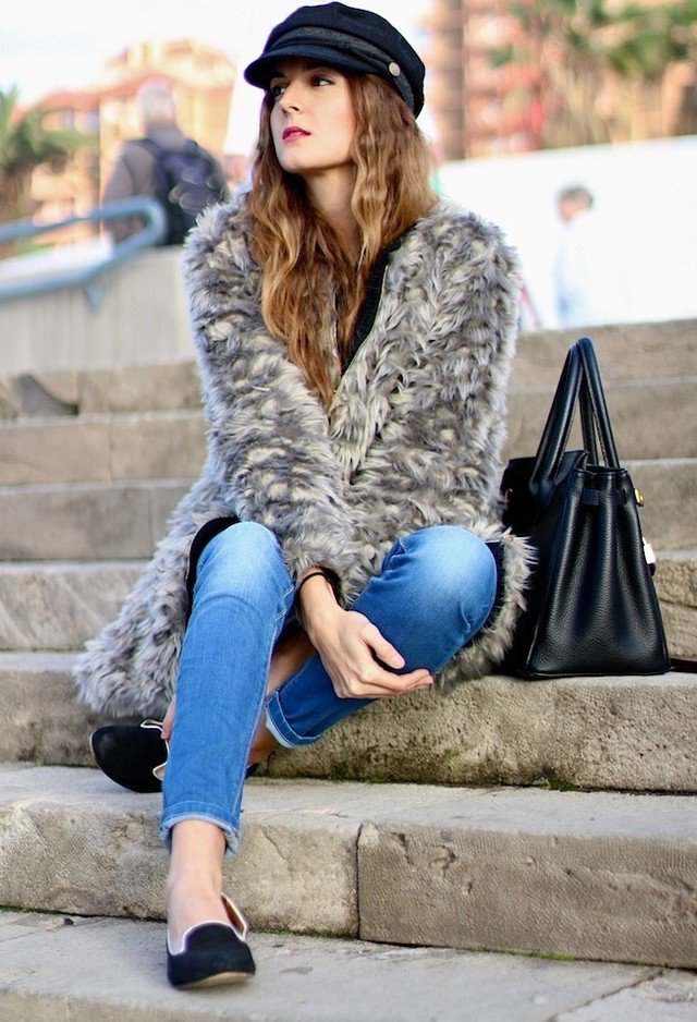 2015 Fashionable Outfit with Fur Coat