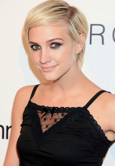 Ashlee Simpson Side Parting Short Pixie Cut for Women