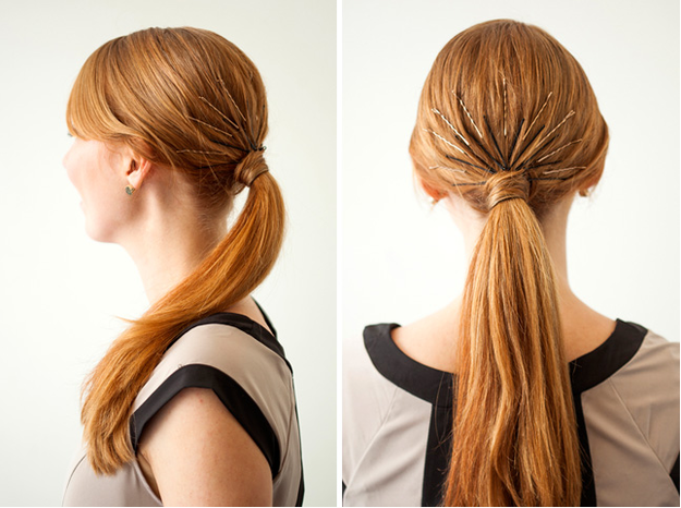 Attractive Ponytail with Bobby Pins
