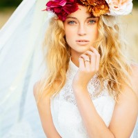 Beautiful Floral Crown Hairstyle for Wedding
