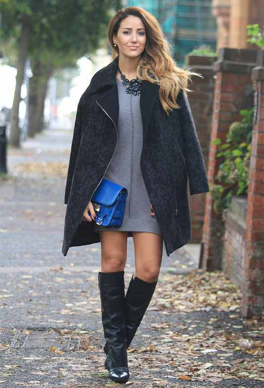 Black Coat and High Boots Outfit Idea for Winter