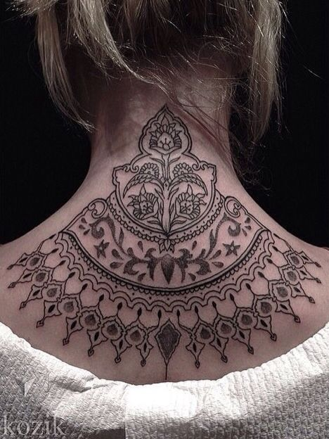 e8a68ff7d 15 Pretty Neck Tattoos for Women - Pretty Designs
