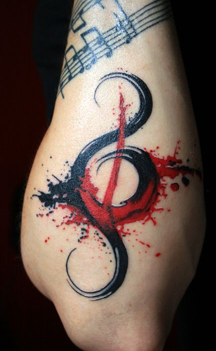 Black and Red Music Tattoo