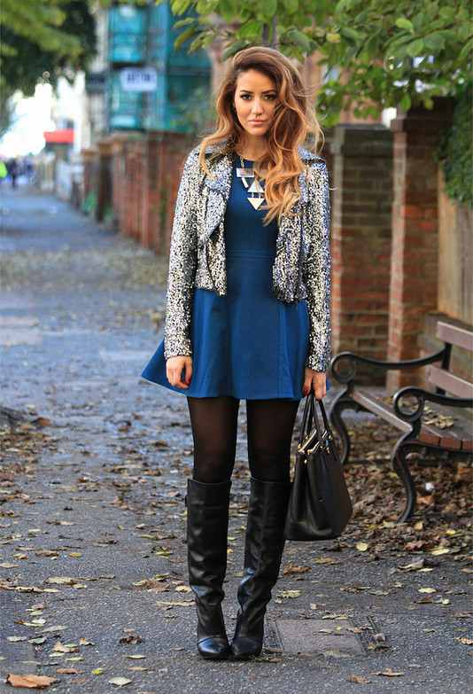 Blue Dress and Grey Jacket for Winter