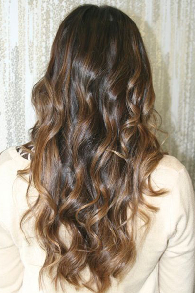 Natural Hair With Caramel Highlights
