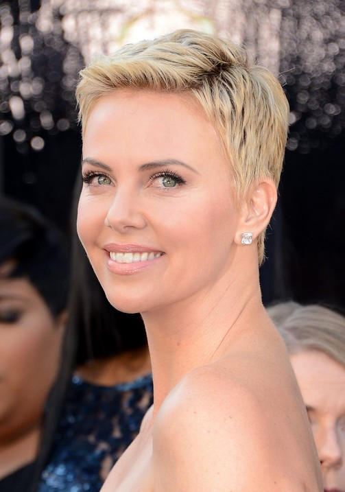 Back View of Charlize Theron Pixie Cut
