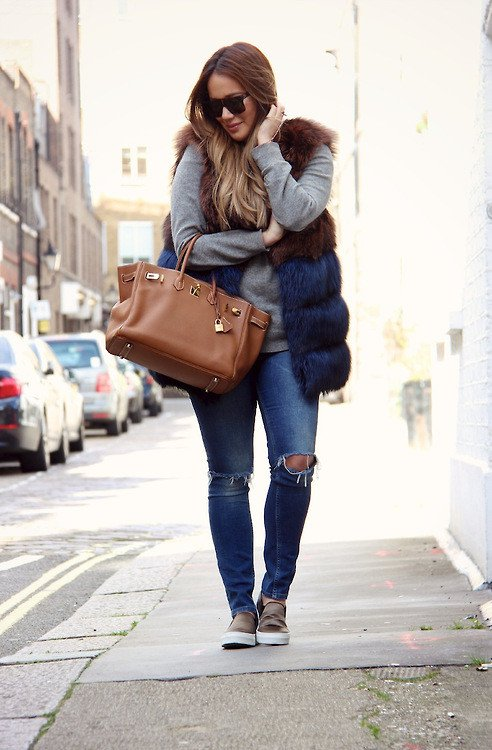 Chic Fur Vest with Ripped Jeans