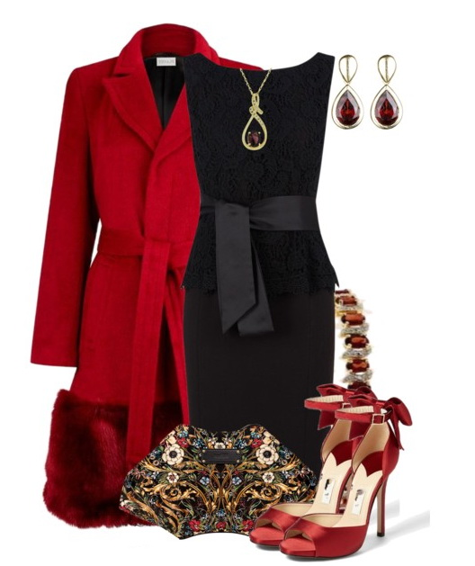 Chic Red and Black Outfit Idea for Party