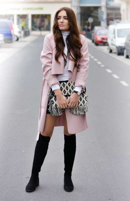 Chic Winter Outfit Idea with Pink Coat and High Boots