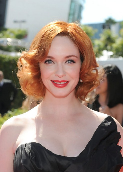 Christina Hendricks Short Red Curly Hairstyle for Women