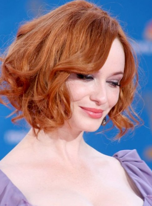 Christina Hendricks Soft Red Curly Hairstyle for Short Hair