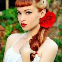 Bright Colored Retro Hairstyle With Flower