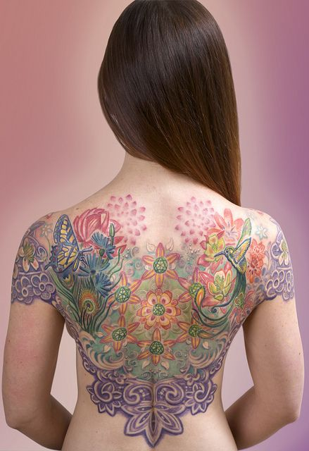 Colorful Back Tattoo