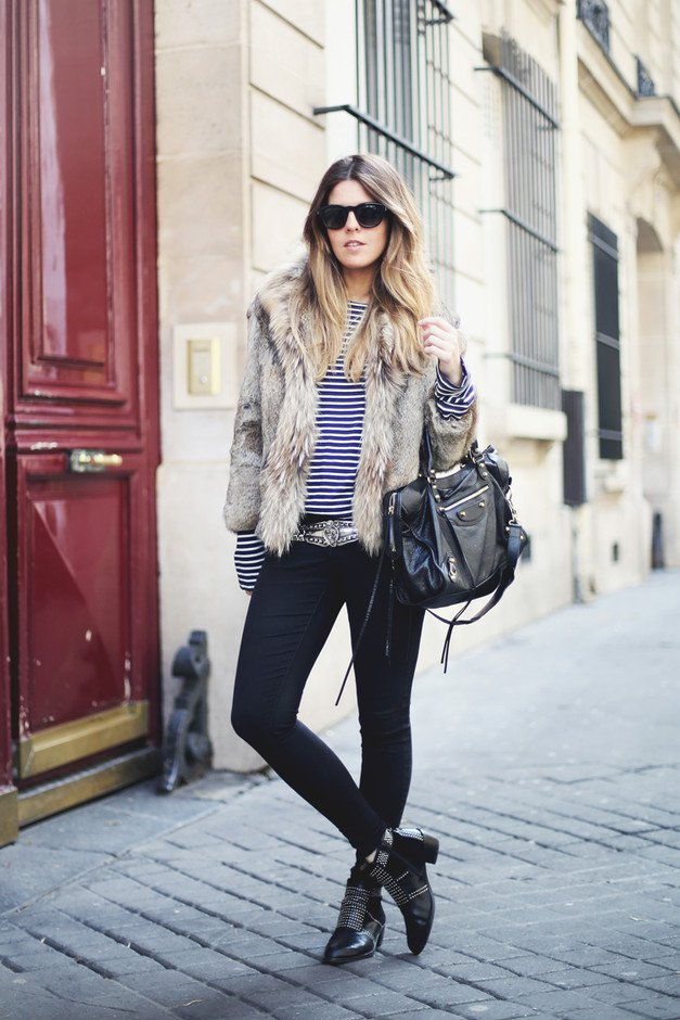 Edgy Winter Outfit with Fur Coat