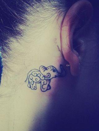 Elephant Tattoo Behind Ear