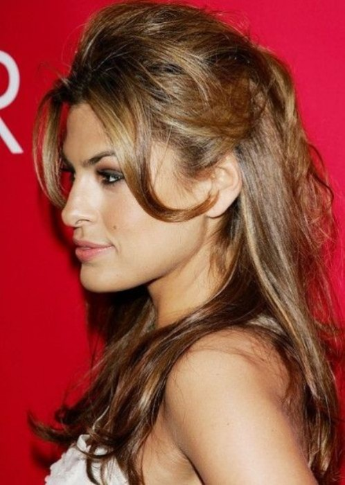 Eva Mendes Half Up Half Down Hairstyle