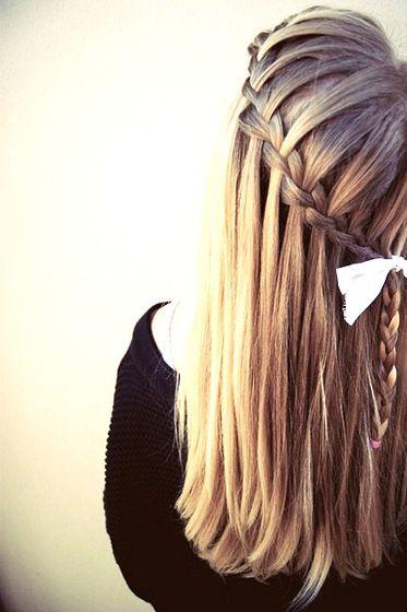 Fabulous Waterfall Braid for Long Straight Hair