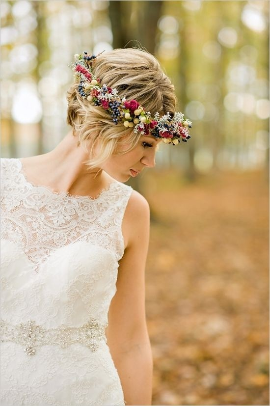 Floral Crown Short Hairstyle for Wedding
