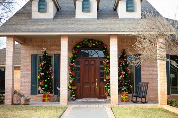 Front Porch with Christmas Balls