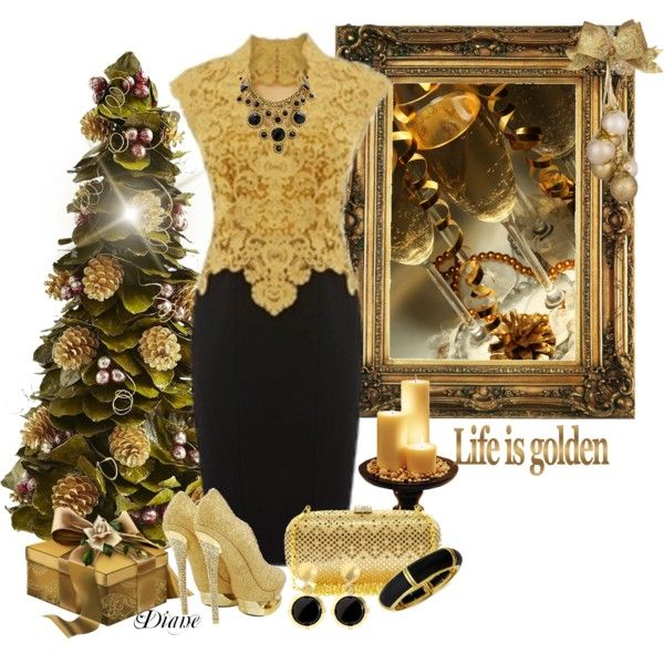Glamorous Golden and Black Outfit Idea for Party