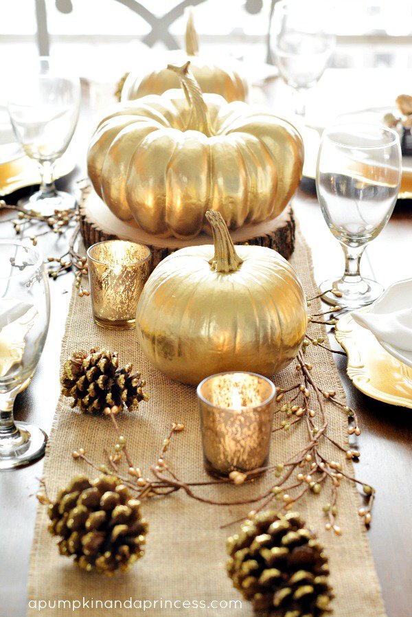 Gold Pumpkin Decoration