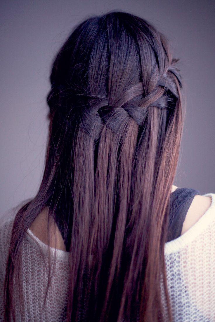 Gorgeous Waterfall Braid for Sleek Straight Hair