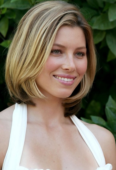 Jessica Biel Mid Length Bob Haircut for Short Hair