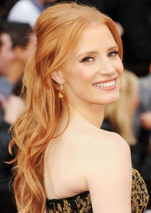 Jessica Chastain Half Up Half Down Hairstyle