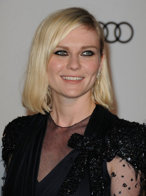 Kirsten Dunst Mid Length Bob Hairstyle for Round Faces