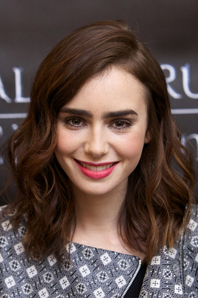 Lily Collins Pretty Textured Long Bob