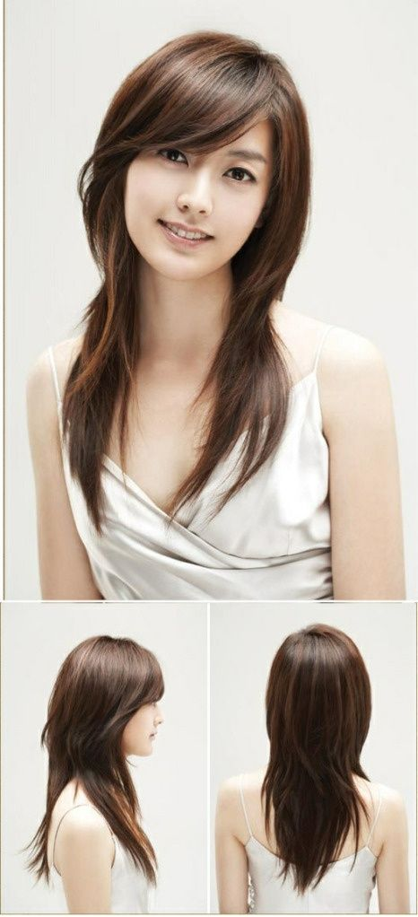 Asian Straight Layered Hair With Side Bangs Long Layered Haircut With
